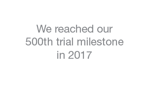 Colpitts reached our 500th trial milestone in 2017